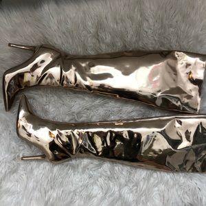 NEW metallic knee high boots Qupid 8.5